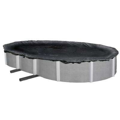 Oval Black Rugged Mesh Above Ground Winter Pool Cover