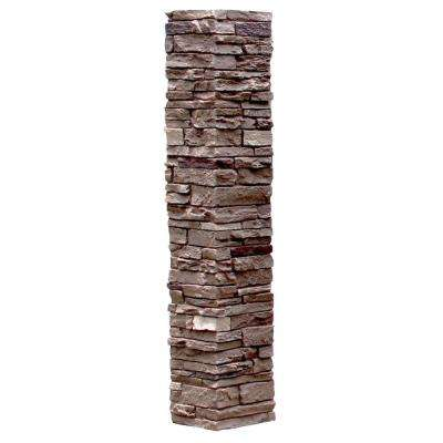 Slatestone 8 in. x 8 in. x 41 in. Brunswick Brown Faux Polyurethane Stone Post Cover
