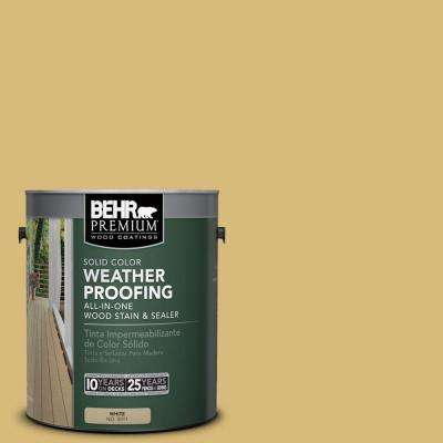 1 gal. #SC-139 Colonial Yellow Solid Color Weatherproofing All-In-One Wood Stain and Sealer