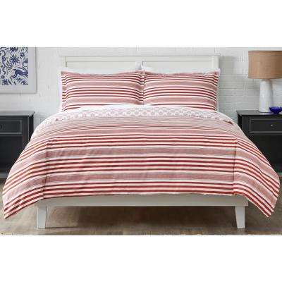 Malcolm 3-Piece Chilli Stripe Duvet Cover Set