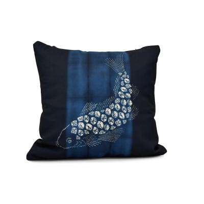 16 in. Fish Pool Animal Print Pillow in Navy Blue