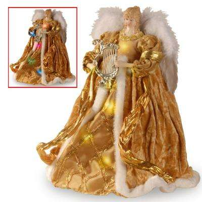 16 in. Gold Angel with Dual LED Lights