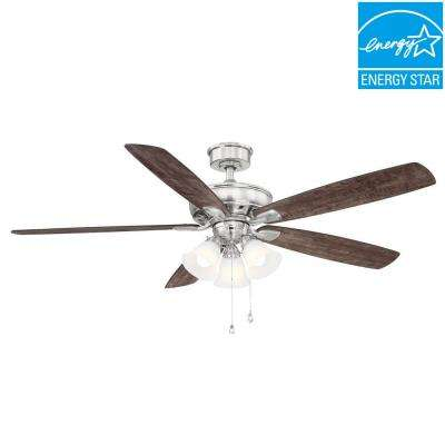Wellton 60 in. LED Brushed Nickel DC Motor Ceiling Fan with Light