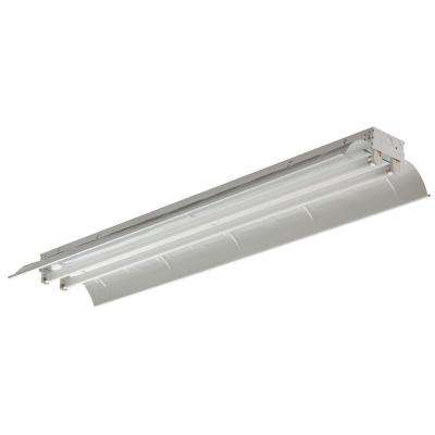 2-Light White Fluorescent Industrial Flushmount Light