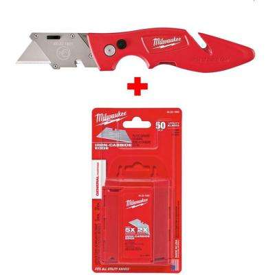 FASTBACK Flip Utility Knife with Free General Purpose Utility Blades (50-Pack)
