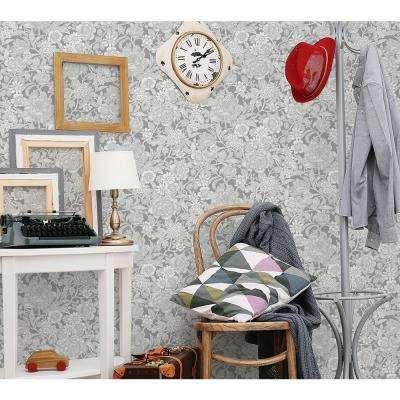 56.4 sq. ft. Hedgerow Grey Floral Trails Wallpaper