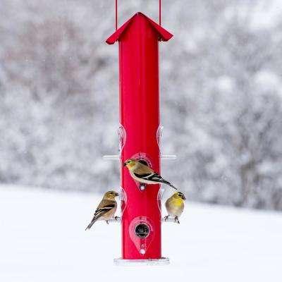 Red Metal Tube Hanging Bird Feeder - 1.5 lb. Capacity