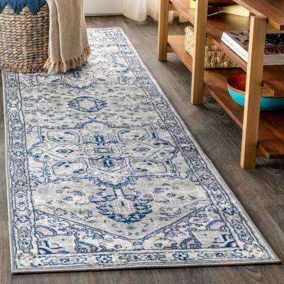 Modern Persian Vintage Medallion Light Grey/Navy 2 ft. x 8 ft. Runner Rug