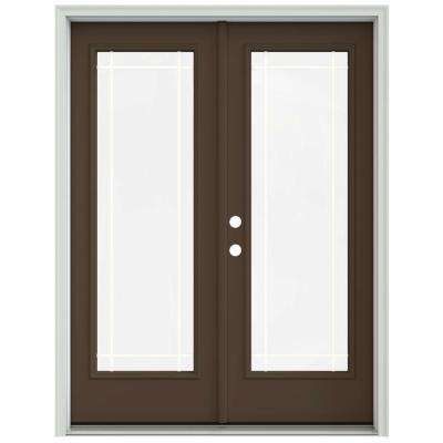 60 in. x 80 in. Dark Chocolate Prehung Right-Hand Inswing 9 Lite French Patio Door with Brickmould