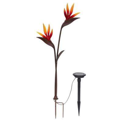 Solar LED Bronze Twin Head Bird of Paradise Path Light