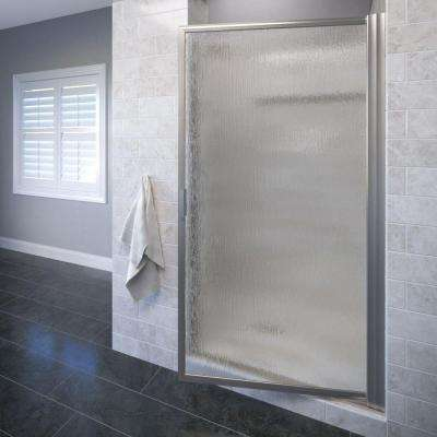 Deluxe 31-3/8 in. x 63-1/2 in. Framed Pivot Shower Door in Brushed Nickel