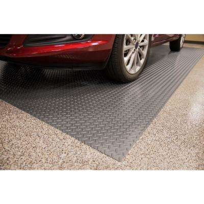 Diamond Tread 10 ft. x 24 ft. Slate Grey Commercial Grade Vinyl Garage Flooring Cover and Protector