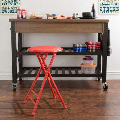 24 in. Cushioned Folding Stool in Red