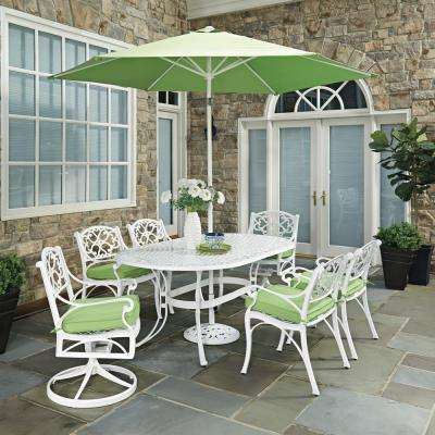 Biscayne White 9-Piece Outdoor Dining Set with Green Cushions