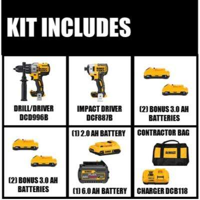 20-Volt MAX Lithium-Ion Cordless Brushless Combo Kit (2-Tool) with Bonus Battery 3.0 Ah (Two 2-Packs)