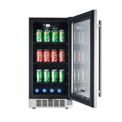 15 in. 80-Can Seamless Stainless Steel Built-In Beverage Cooler