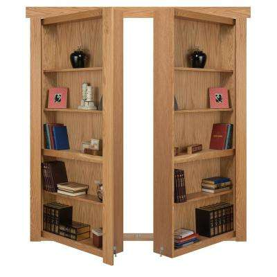 48 in. x 80 in. Flush Mount Assembled Oak Natural Stained Out-Swing Solid Core Interior French Bookcase Door