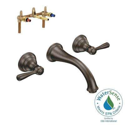 Kingsley Wall Mount 2-Handle Low-Arc Bathroom Faucet Trim Kit with Valve in Oil Rubbed Bronze