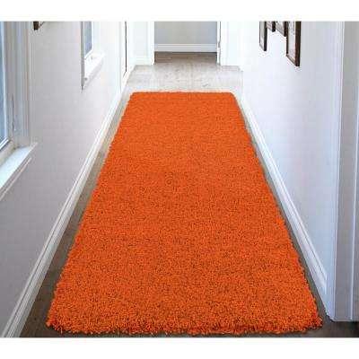 Shag Collection Orange 3 ft. x 8 ft. Runner Rug