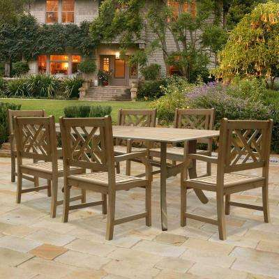 Renaissance Acacia 7-Piece Patio Dining Set with 35 in. W Table and Herringbone-Back Armchairs
