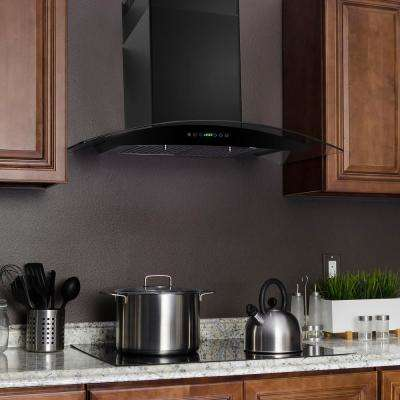 30 in. Convertible Wall Mount Range Hood in Black with Tempered Glass and Remote Control