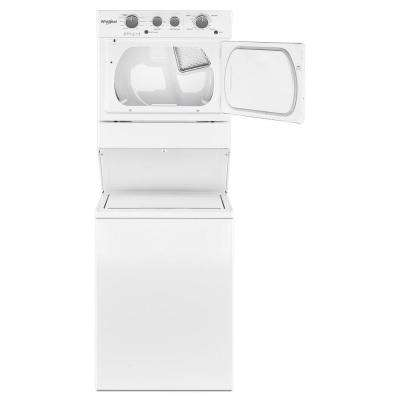 3.5 cu. ft. Stacked Washer and Gas Dryer with 9-Wash Cycles and Wrinkle Shield in White