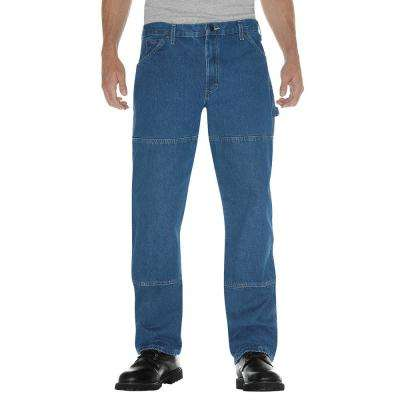 Men's Stonewashed Indigo Blue Relaxed Fit Double Knee Carpenter Denim Jean