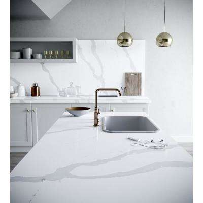 4 in. x 8 in. Quartz Countertop Sample in Bianco Calacatta
