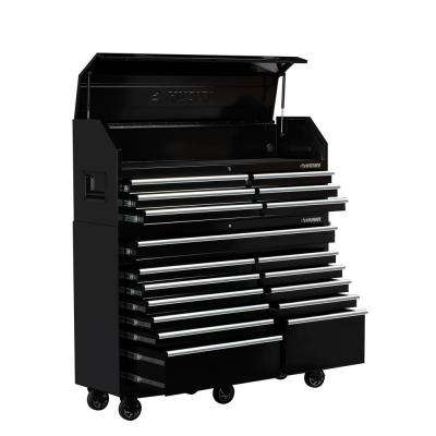 61 in. W x 18 in. D 18-Drawer Tool Chest and Rolling Cabinet Combo in Black