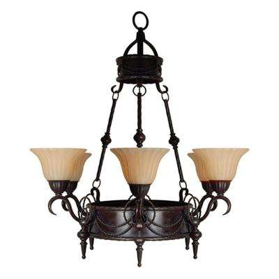 Isabella Collection 6-Light Earthen Bronze Hanging Chandelier with Spanish Scalloped Glass Shade