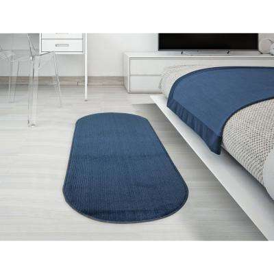 Softy Collection Navy 1 ft. 8 in. x 4 ft. 11 in. Solid Design Oval Runner Rug