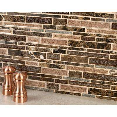 Olive Branch Dark Roast 11-3/4 in. x 11-3/4 in. x 10 mm Glass and Stone Mosaic Tile