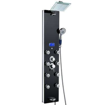 52 in. 8-Jet Shower Panel System in Black Tempered Glass with Rainfall Shower Head, LED Display, Handshower, Tub Spout