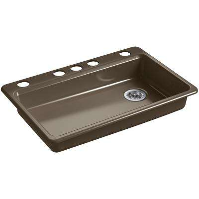 Riverby Undermount Cast Iron 33 in. 5-Hole Single Bowl Kitchen Sink in Suede