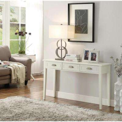 Amelia 3-Drawer White Wooden Console Table