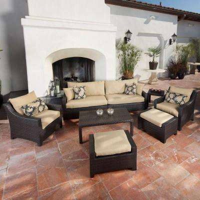 Deco 8-Piece Patio Seating Set with Delano Beige Cushions