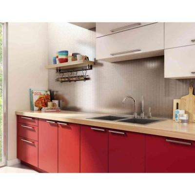 Urbain S2 Silver Stainless Steel 11.42 in. x 11.57 in. x 5 mm Metal Self-Adhesive Wall Mosaic Tile