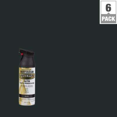 12 oz. All Surface Satin Black Spray Paint and primer in 1 (6-Pack)