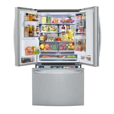 23.3 cu. ft. French Door Refrigerator InstaView Door-In-Door, Dual and Craft Ice in PrintProof Stainless, Counter Depth