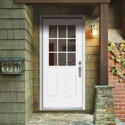 32 in. x 80 in. 9 Lite Primed Fiberglass Prehung Left-Hand Inswing Front Door w/Brickmould