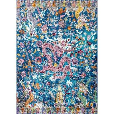 Margo Floral Dragon Blue 7 ft. 10 in. x 9 ft. 6 in. Area Rug