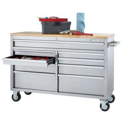 52 in. 9-Drawer Mobile Workbench in Stainless Steel