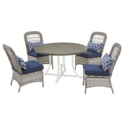 Beacon Park 5-Piece Gray Wicker Outdoor Dining Set with Midnight Cushions