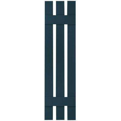 12 in. x 50 in. Lifetime Vinyl Custom Three Board Spaced Board and Batten Shutters Pair Midnight Blue
