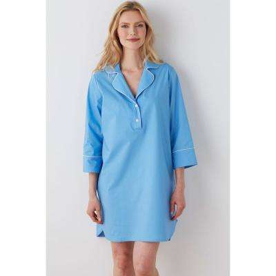 Solid Poplin Cotton Women's Nightshirt