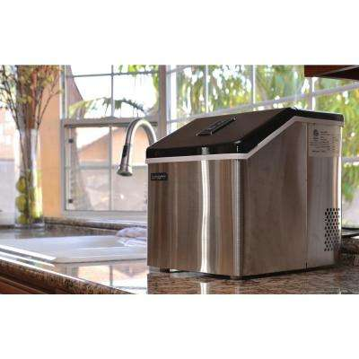 28 lb. Portable Freestanding Clear Ice Maker in Stainless Steel