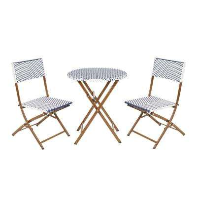 French Caf 3-Piece Wicker Outdoor Patio Folding Bistro Set