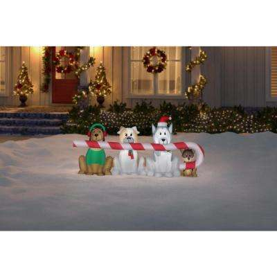 8 ft. W Pre-Lit Giant Airblown Inflatable Christmas Puppies with Candy Cane Scene