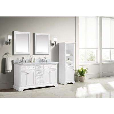 Windlowe 61 in. W x 22 in. D x 35 in. H Bath Vanity in White with Carrera Marble Vanity Top in White with White Sink