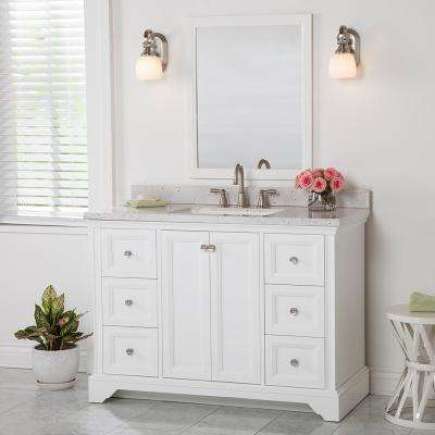 Stratfield 49 in. W x 22 in. D Bathroom Vanity in White with Stone Effects Vanity Top in Pulsar with White Sink